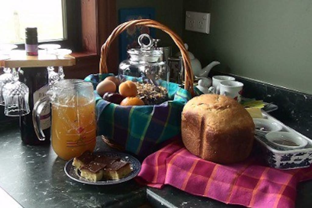 Complimentary breakfast and daily baking.  Bottle NZ wine if staying 2 nights