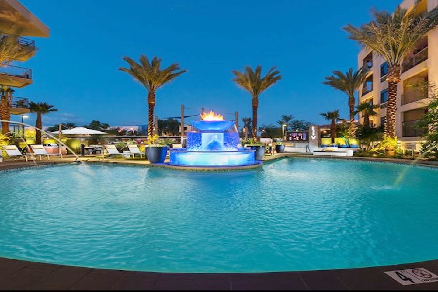 Tranquil water feature, large saltwater pool and plenty of lounge chairs, seating and bbq area.