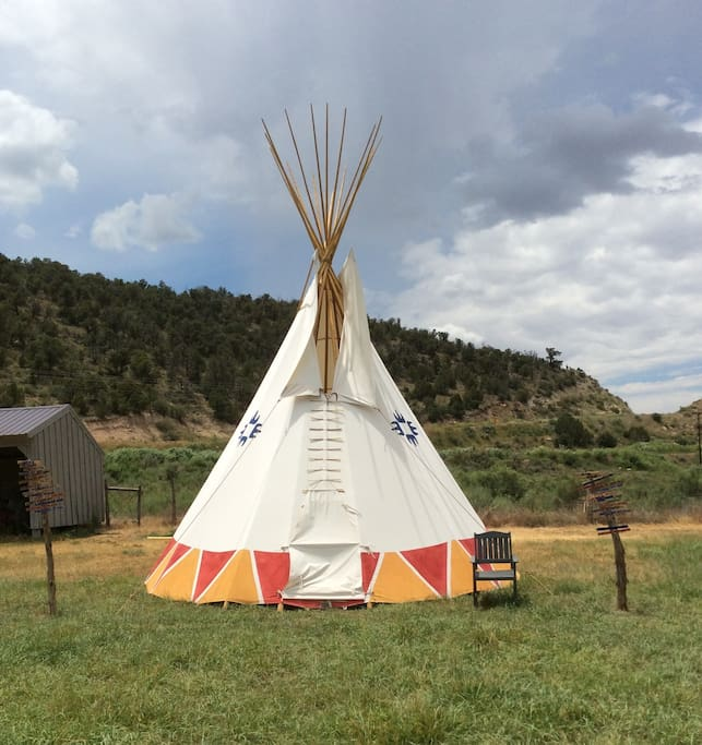 20 foot tipi on property by pond for you to hang out in