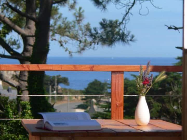 gîte avec  terrasse face à la mer