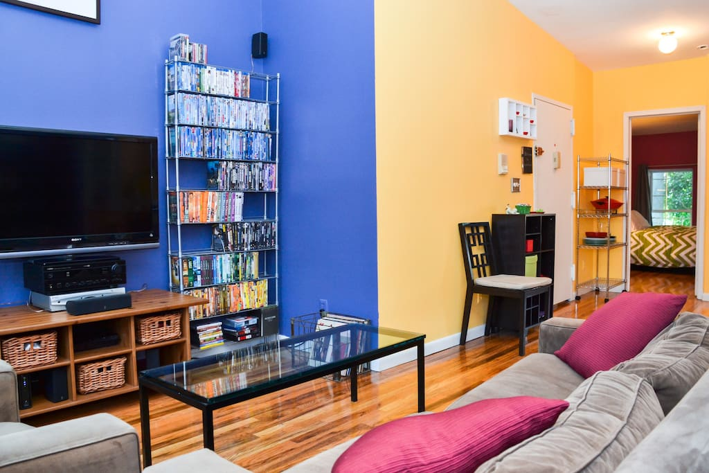 Living room features TV, Playstation, and lots of DVDs and Blu-Rays to watch if you opt for quiet night indoors