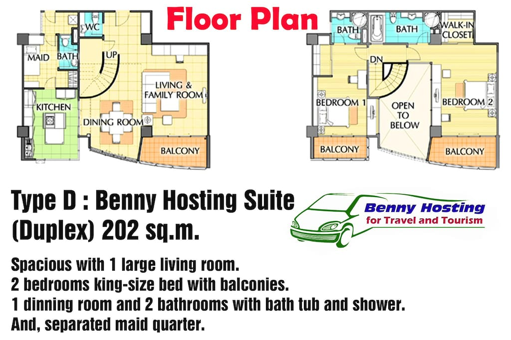 Double Storey of 2-Bedroom, and 2-Bathroom Floor Plan.