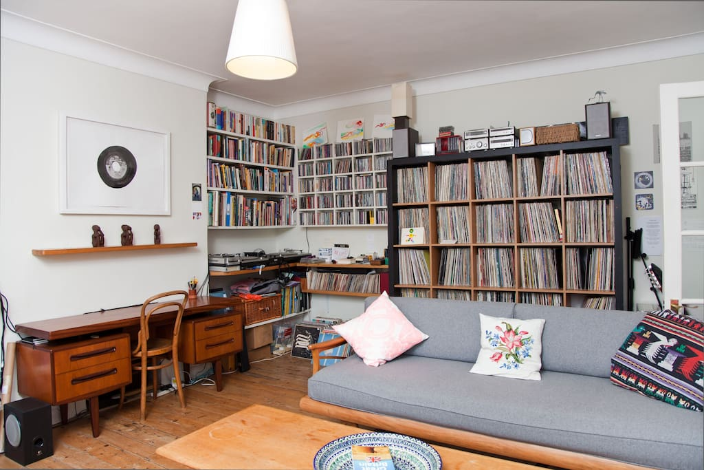 Vinyl records fill our living space.