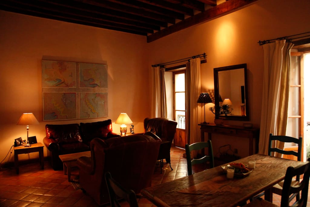 The living room and dining table