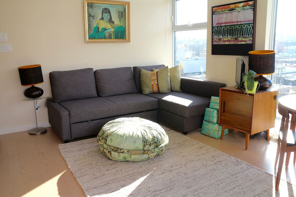 Living room with pull out couch for guests.