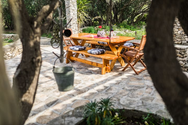 Outdoor dining table with barbecue and terrace with a view