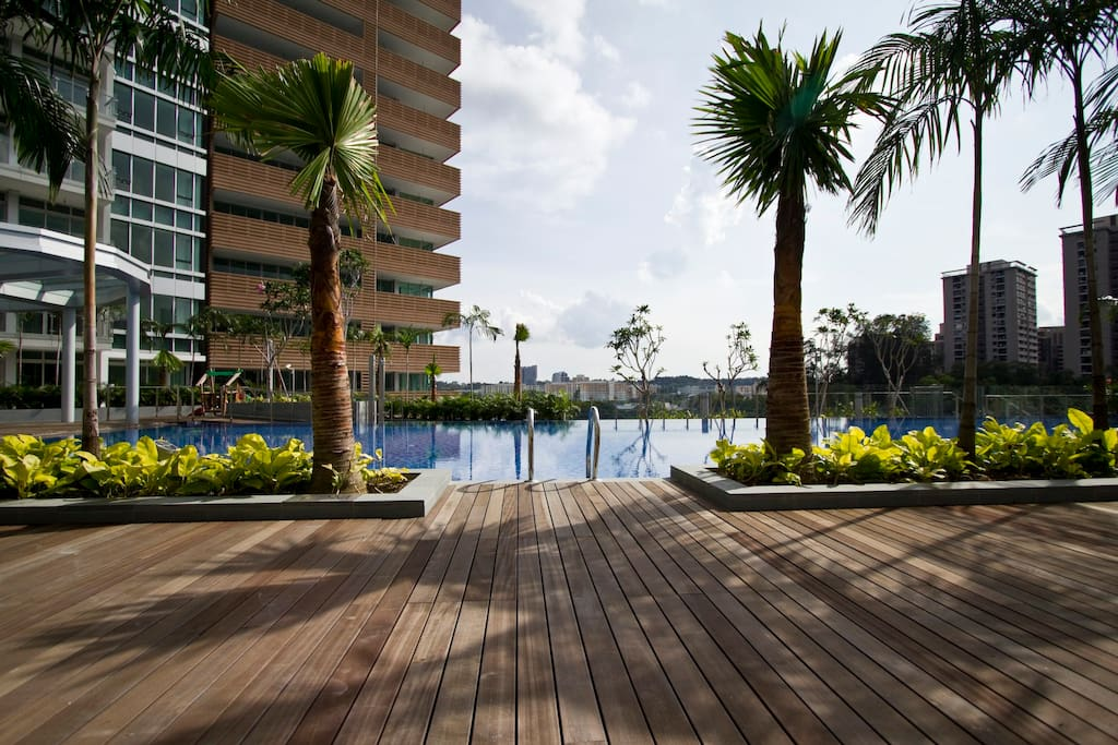 Step out from your apartment in your swimswear and take a dip in the 20m long swimming pool