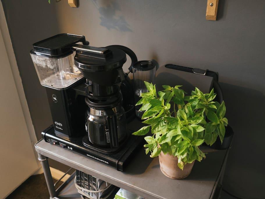 Moccamaster, nespresso maker and boiler.