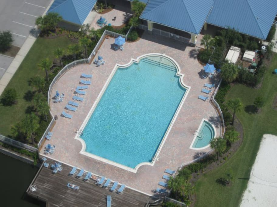 Ariel shot from a helicopter of Heritage Key Villas communal pool