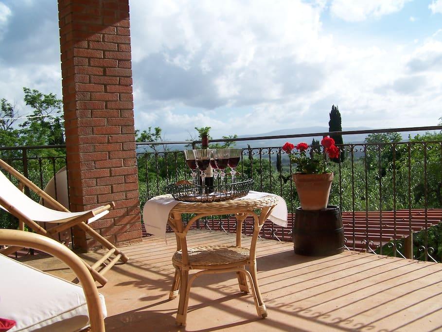 Terrace on upper floor overlooking the garden