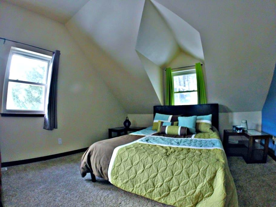 Comfy memory-foam queen bed.