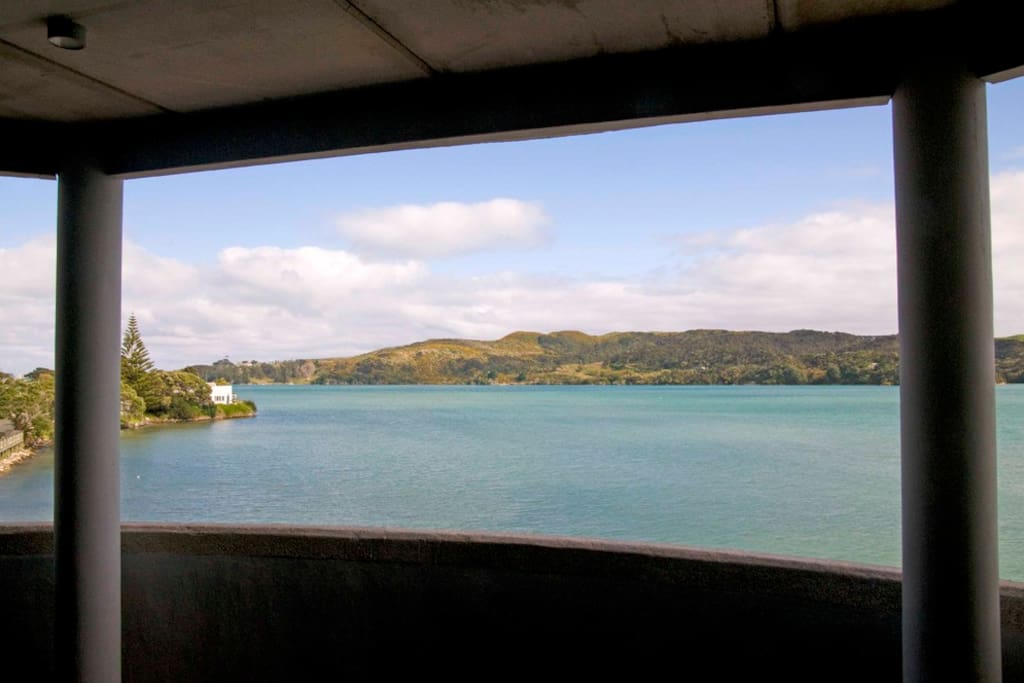the view looking towards the harbour entrance from the verandah