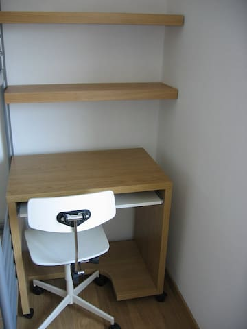 A little study desk in one of the bedrooms on the first floor.