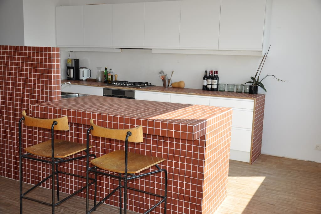 The kitchen with a corner for the kitchen assistants during the apero ...