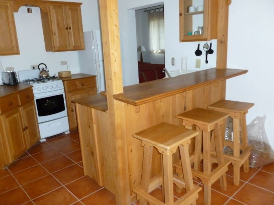 Fully equipped kitchen with teak counter top