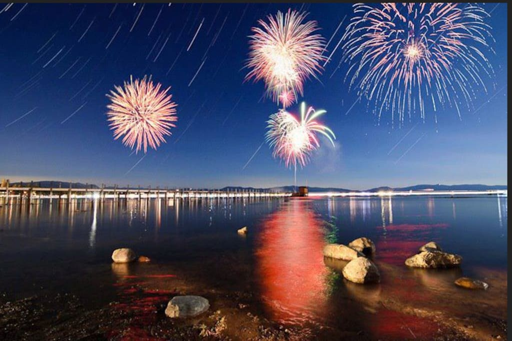 Best Fireworks display for Miles. Put on by Harrahs/Harveys Casinos.  The barges are over the water directly off our beach. Other than boat, you can't get any closer