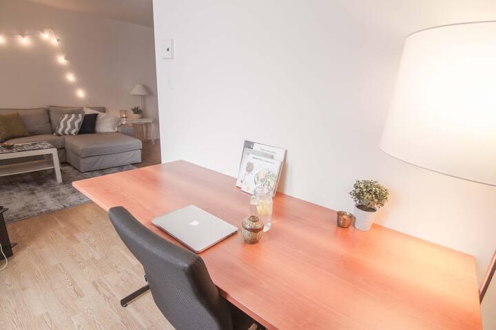 Office desk in a quiet corner.