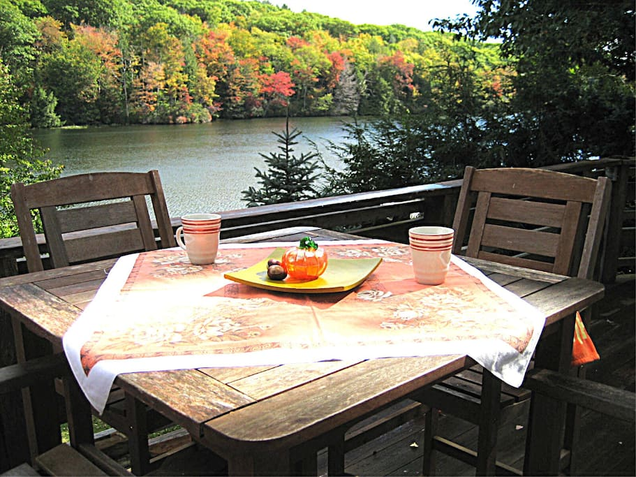 Dining outside in the fall. Heart-stoppingly gorgeous.
