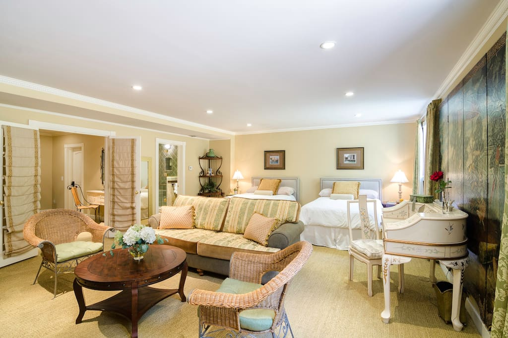 Luxurious private suite on secluded lower floor with your own private entrance.