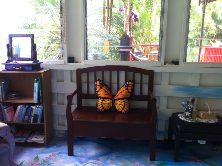 The upstairs garden room is comfortable and airy.