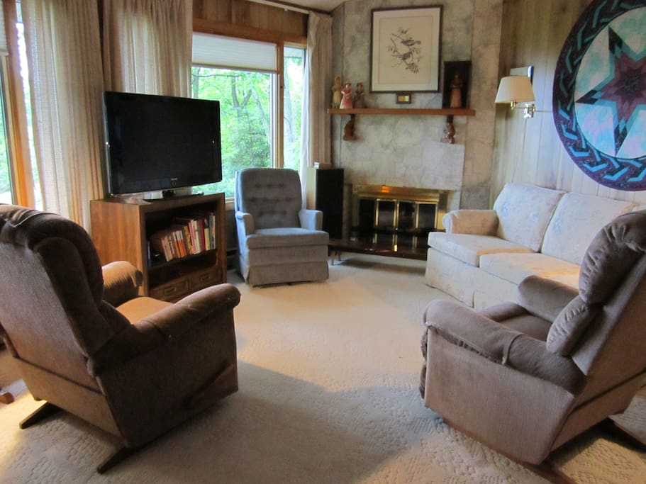 Living room with gas logs, large TV and west facing view.  Couch folds out to a very comfy bed