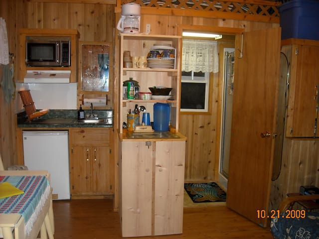 Bathroom/shower through the door and kitchenette to left...pots/pans/dishes and other appliances in cupboard.