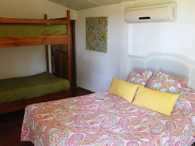 Room 4, Queen bed and bunk bed,has its own bathroom