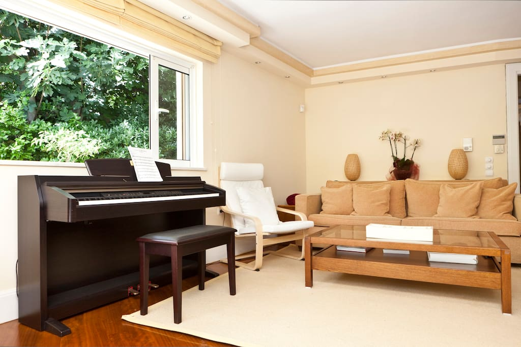 Living Room: Comfortable Sofa-Bed, the Piano.