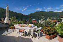 The breakfast on the terrace