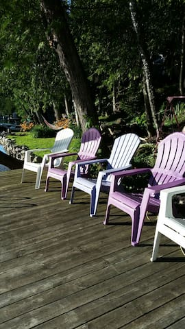 Purple chairs.