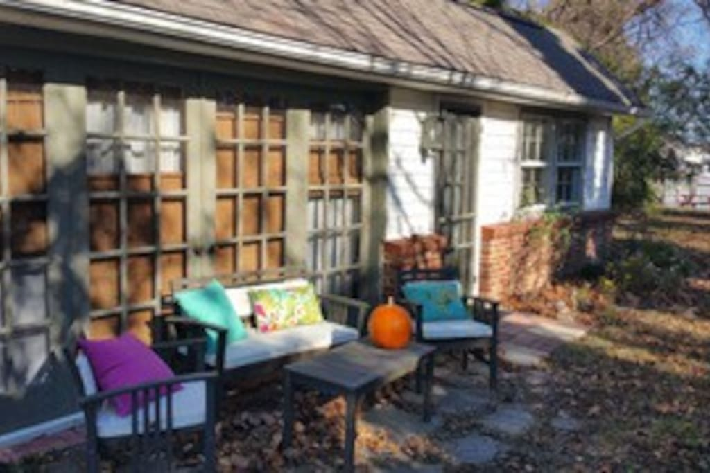Outside seating area near cottage (in fall)