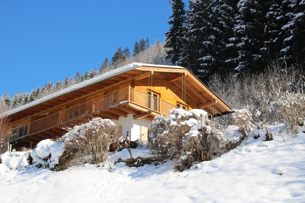 Chalet with fresh snow