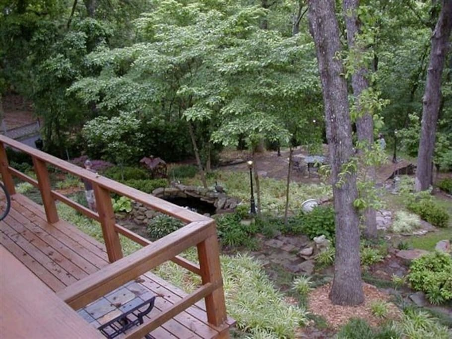 Deck perfect for barbecue, nature watching or sitting by the fire pit.