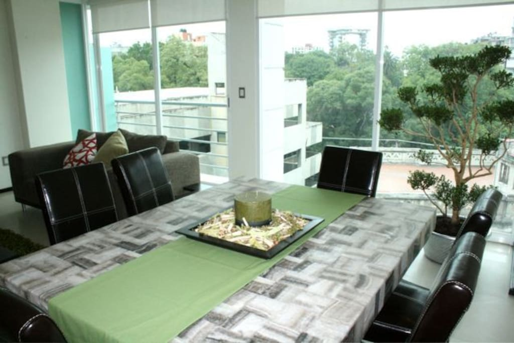 Dining room with open views
