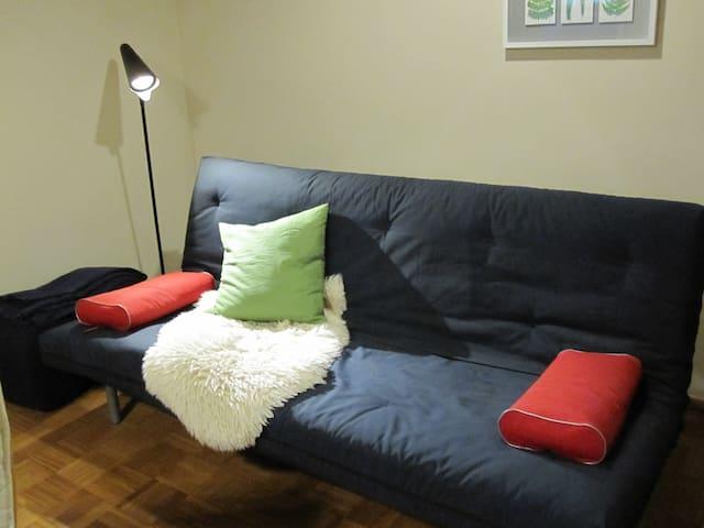 Sofa/Schlafcouch (1,40m breit und als Bett zusätzlich mit Topper bezogen)