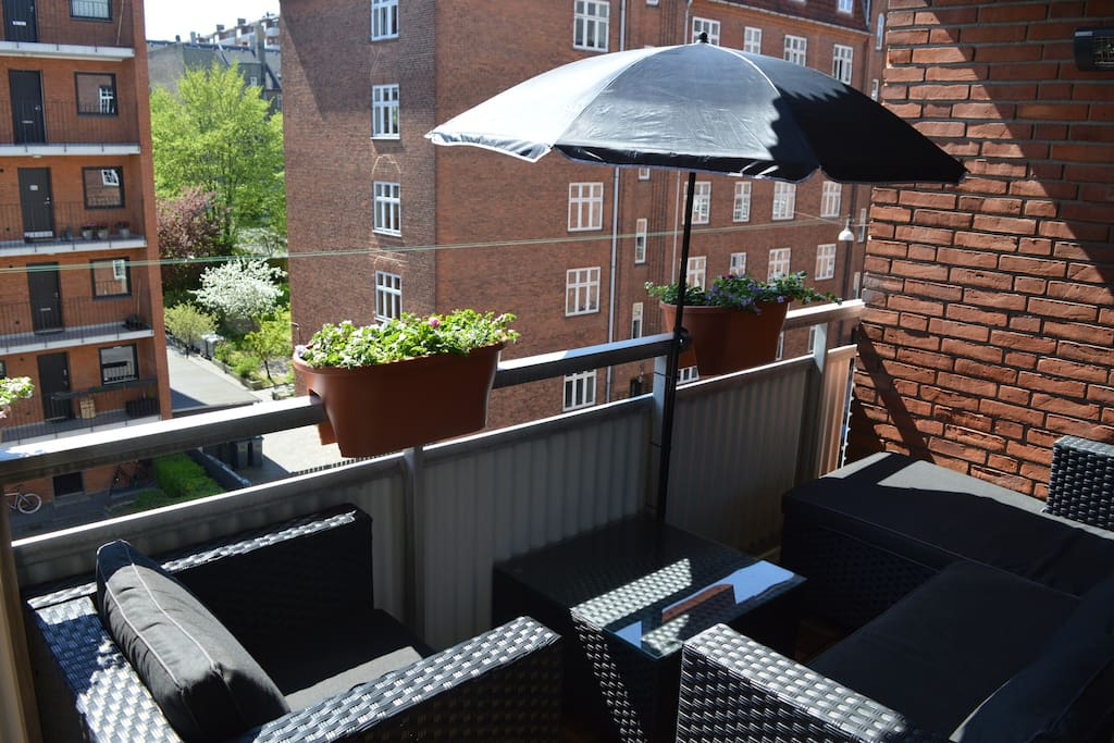 Sunny balcony with terasse heater. During spring/summer only.