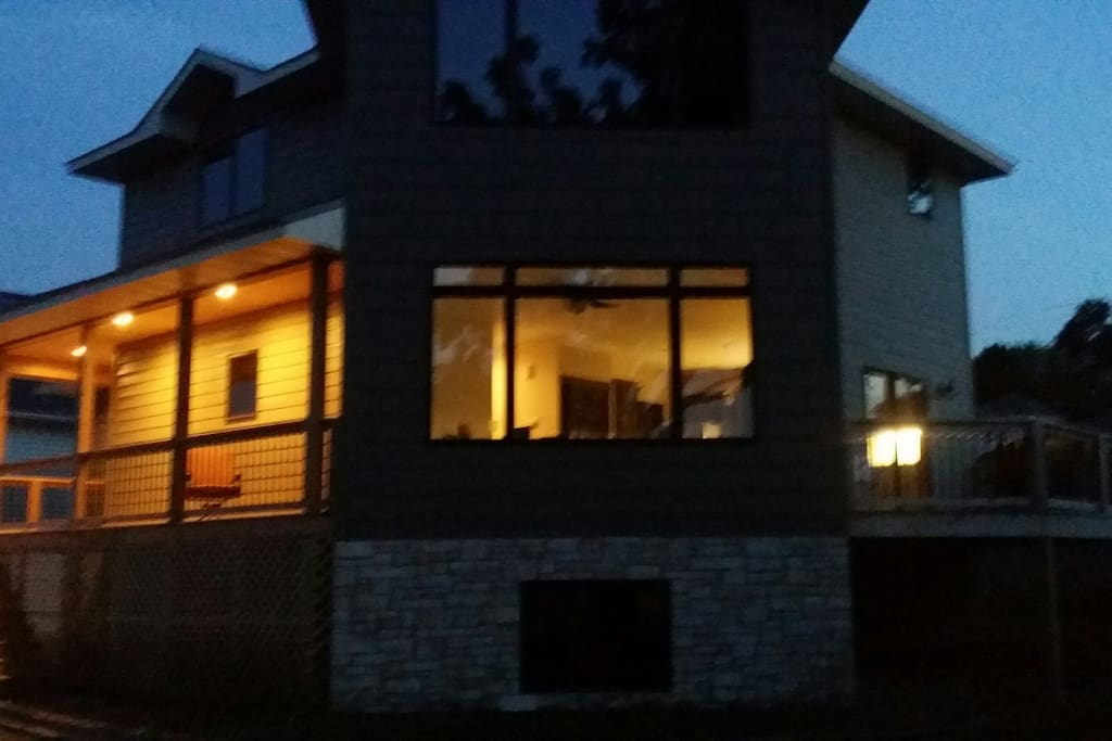 view of house at night