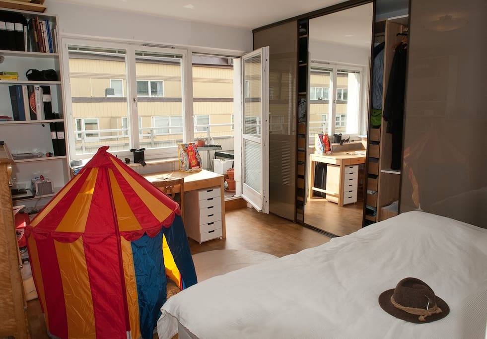 This is the bedroom - with 8 meters of balcony. The IKEA play tent not included...