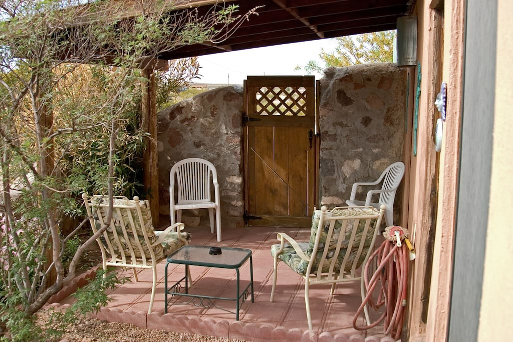 Private patio and outside entrance to Kokopelli