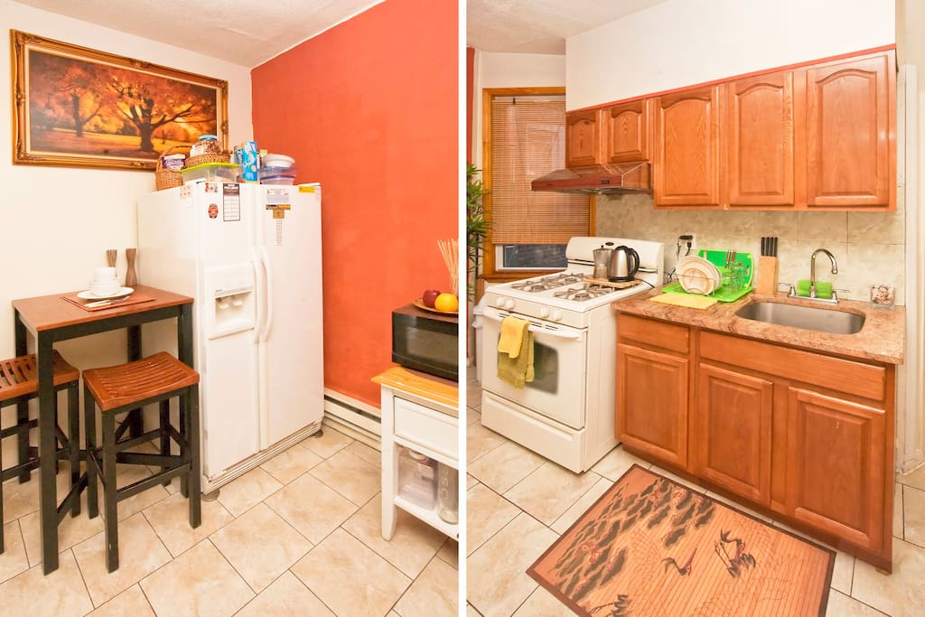Split image of the kitchen