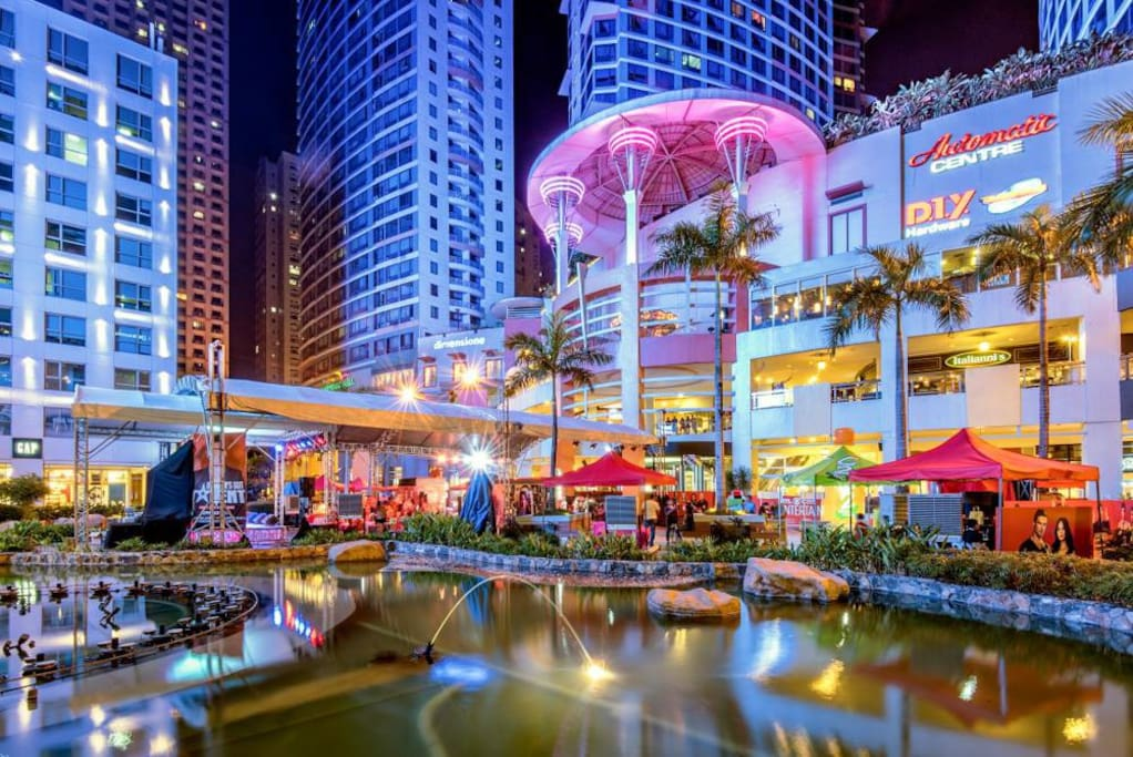 Vibrant Eastwood City at night