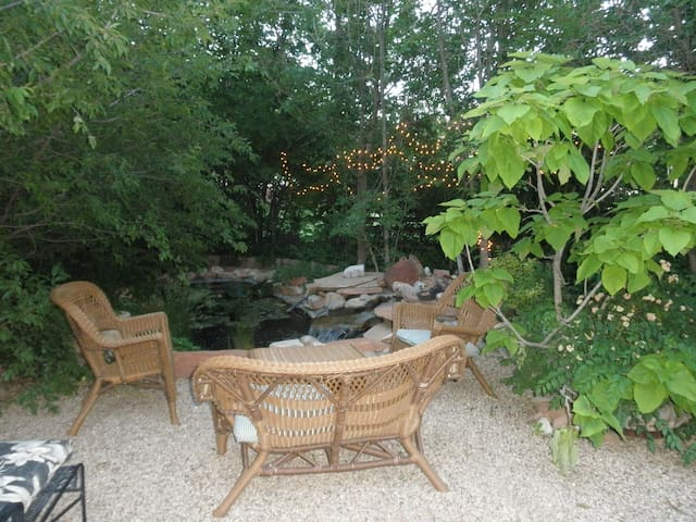 Side pond and sitting area.