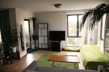Living room with large terrace on the west. Ideal to watch the sunset over the park.