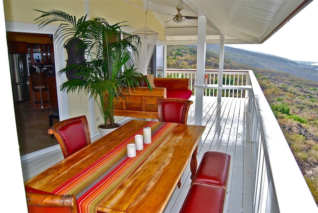 "This is the top floor Lanai, with Custom Teak dining area and 8ft. Teak Daybed. It is very spacious, and is a bonus for our guests, acting as an ""Outdoor"" Living/Dining Room."""