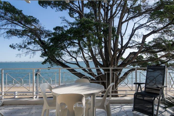 Terrasse équipée pour manger et se reposer au bord de l'eau