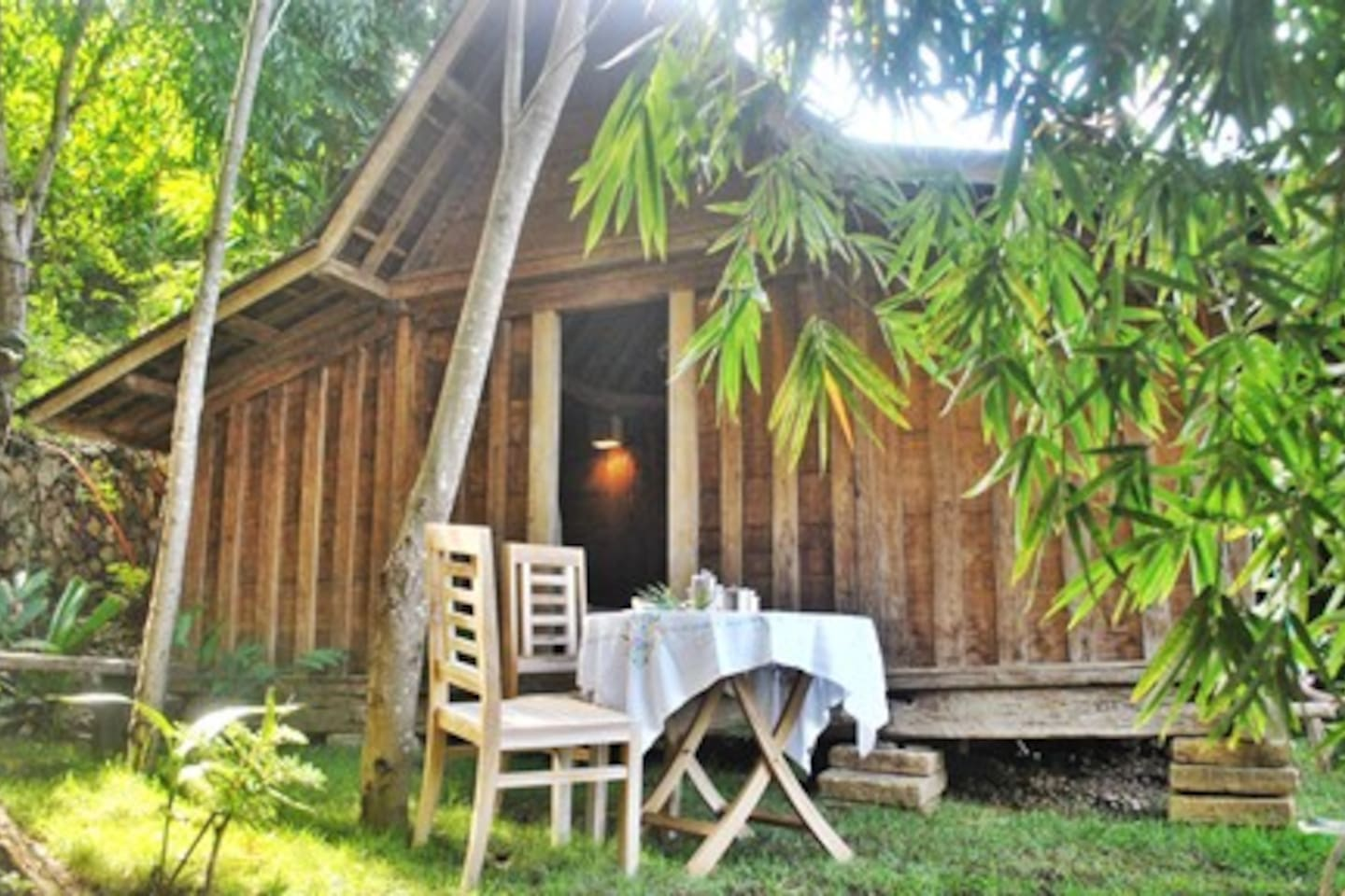 The Lumbung Hutan : the wooden house in the forest.