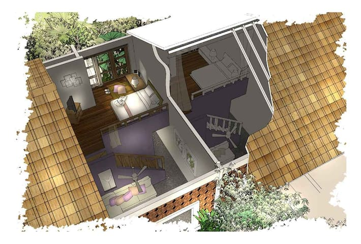 Ubud的双阁楼秘密花园