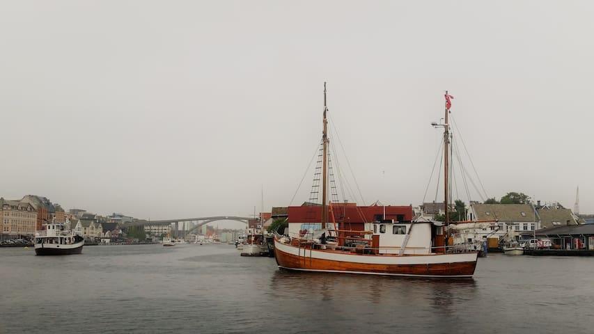 Sundet byen og Risøy. Et minutt fra leiligheten