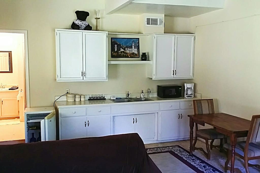 View of kitchenette. Mini fridge, microwave, coffee pot, and sink. No cooking allowed.