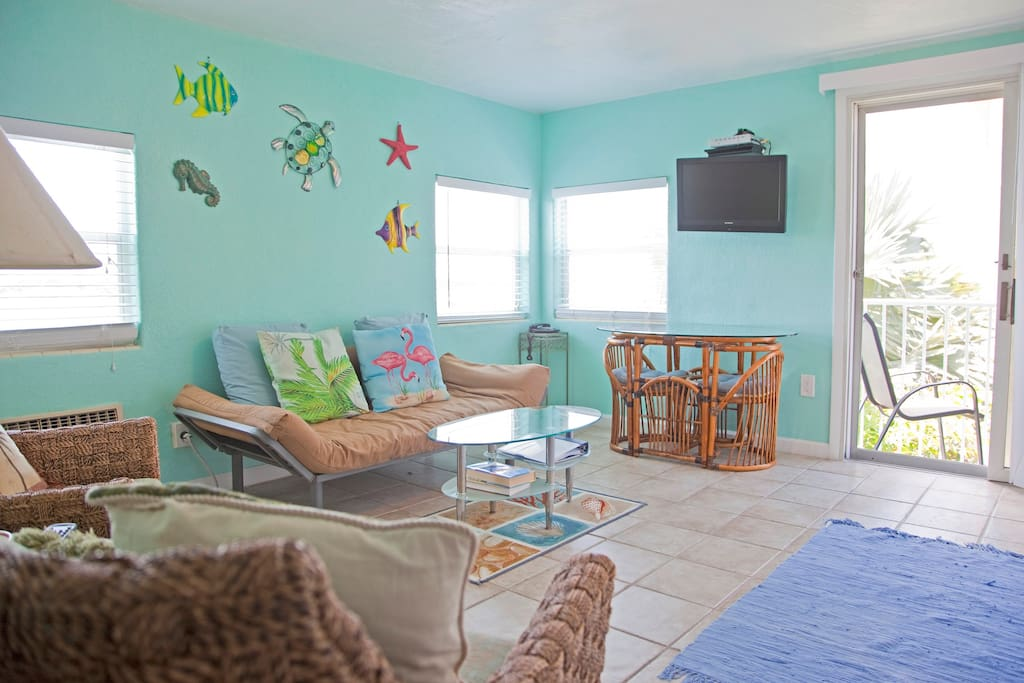 Ready and waiting for you - bright cheery studio complete with sea life decorations.   View is from the kitchen.